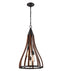 KHALEESI2: Interior single pendant light. ES x 3 60W Medium Oak Dark Red Wood Medium BELL OD391mm x H711mm 3m chain. CLA Lighting