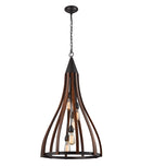 KHALEESI3: Interior single pendant light. ES x 5 60W Medium Oak Dark Red Wood WOOD Large BELL OD535mm x H982mm 3m chain. CLA Lighting