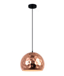 KOPER1: Interior single pendant light. ES 72W COPPER PLATED WINE GLASS D300mm x H230mm 3m cable. CLA Lighting.