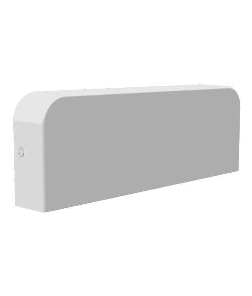 KUK2: Exterior LED surface mounted wall lights. Surface Mount Matt White Rect 3000K 10W IP54 45D