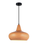 LIGNA05: Interior single pendant light. ES 72W WINE GLASS Cherry Golden Oak OD400mm x H320mm 3m cable. CLA Lighting.