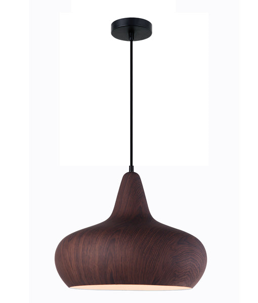 LIGNA06: Interior single pendant light. ES 72W WINE GLASS Black Walnut OD400mm x H320mm 3m cable. CLA Lighting.
