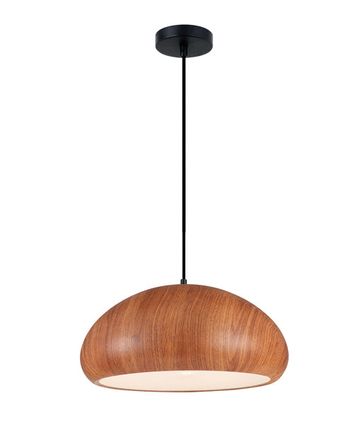 LIGNA07: Interior single pendant light. ES 72W DOME Cherry Cinnamon OD400mm x H190mm 3m cable. CLA Lighting.