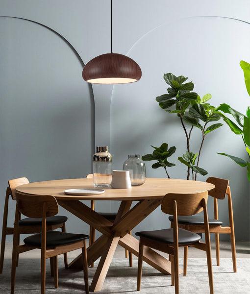 LIGNA09: Interior single pendant light. PENDANT ES 72W DOME Black Walnut OD400mm x H190mm 3m cable. CLA Lighting