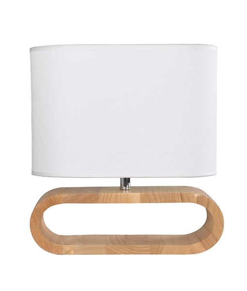 LOTUS1: Interior table lamp. ES 40W BLONDE WOOD/WHITE CLOTH SHADE H330mm x W300mm (Base D100mm Shade H160mm)