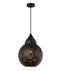 MARRAKESH01: Interior single pendant light. ESlamp 72W Black BELL with Gold interior OD 300mm x H390mm 3m cable. CLA Lighting.
