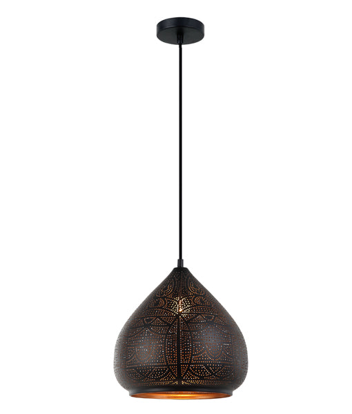 MARRAKESH02: Interior single pendant light. ES 72W Black Ellipse with Gold Interior OD300mm x H280mm 3m cable. CLA Lighting.