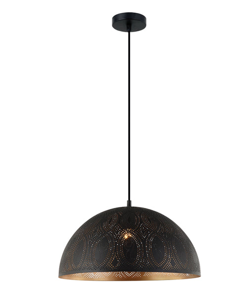 MARRAKESH03: Interior single pendant light. ES 72W Black Dome with Gold Interior OD400mm x H200mm 3m cable. CLA Lighting.