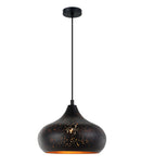 MARRAKESH04: Interior single pendant light. ES 72W Black Champagne Glass with Gold Interior OD250mm x H175mm 3m cable. CLA Lighting.