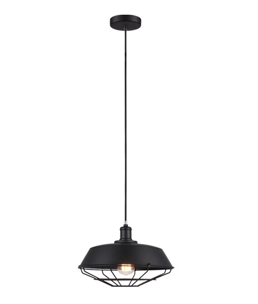 MATRIX-B: Interior single pendant light. ES 72W DOME & CAGE Black OD360mm x H230mm 3m cable. CLA Lighting