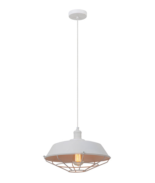 MATRIX-W: Interior single pendant light. ES 72W DOME & CAGE White OD360mm x H230mm 3m cable. CLA Lighting
