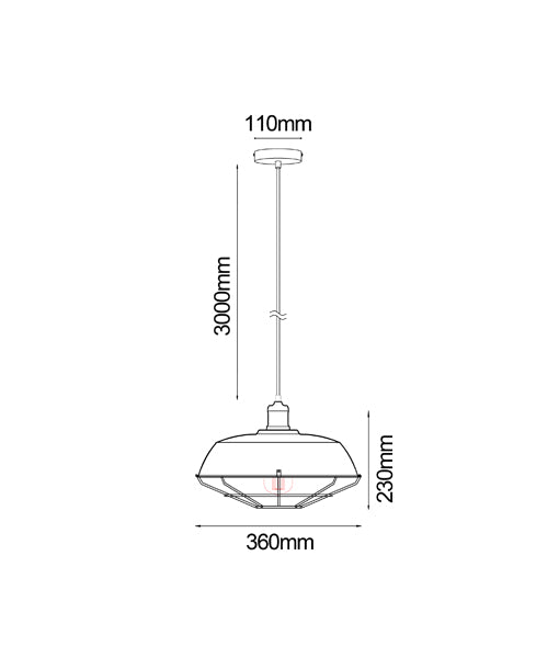 MATRIX-B, MATRIX-W: Interior single pendant light. ES 72W DOME & CAGE Black/ White OD360mm x H230mm 3m cable. CLA Lighting