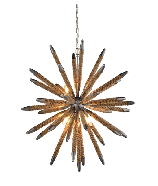 MAZZA: Interior pendant light. SES x 8 60W Weathered Zinc Hardware and Natural Rope OD860mm x H860mm 3m chain. CLA Lighting.