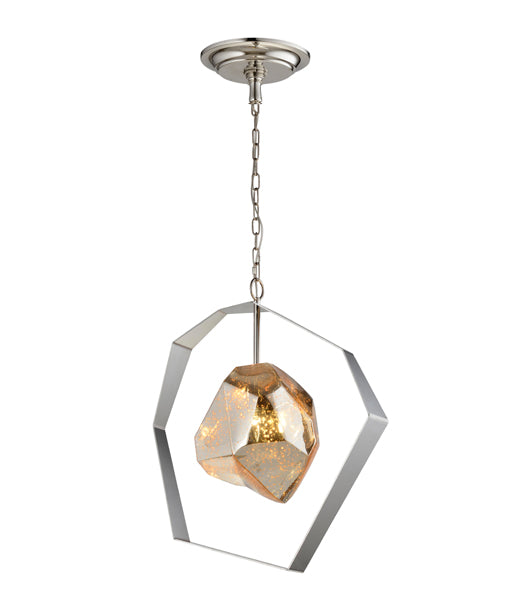 METEORA1: Interior pendant light.  ES Lamp 60W Stainless Steel with Silvered Glass OD450mm x H518mm 3m chain. CLA Lighting.