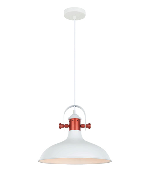 NARVIK1: Interior single pendant light. ES 72W MATT White DOME with Copper Plating OD360mm x H280mm 3m cable. CLA Lighting