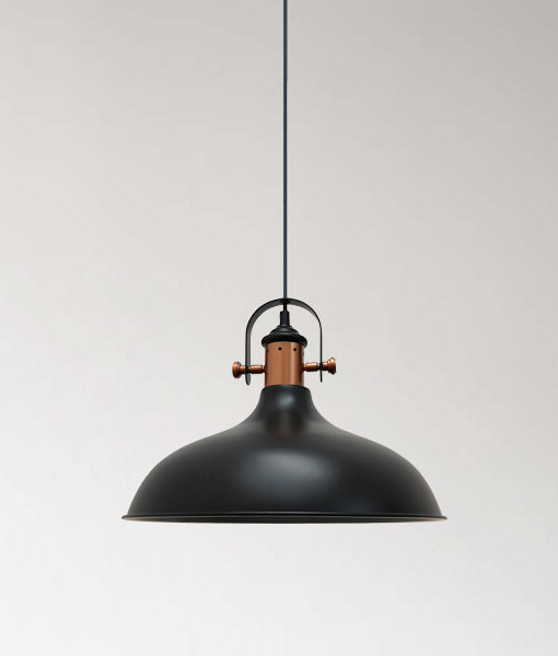 NARVIK2: Interior single pendant light. ES 72W MATT Black DOME with Copper plating OD360mm x H280mm 3m cable. CLA Lighting