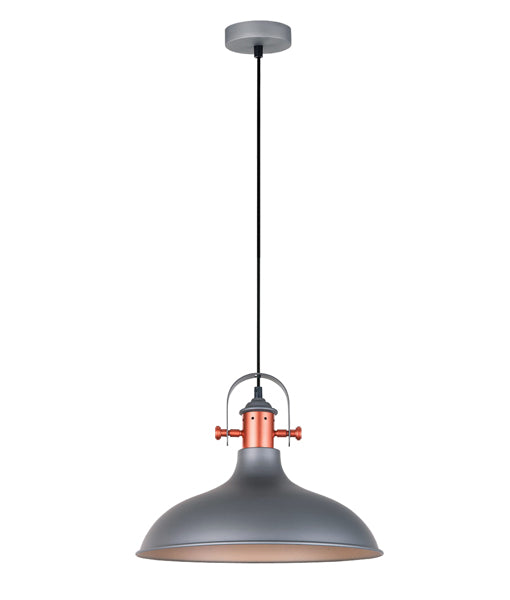 NARVIK3: Interior single pendant light. ES 72W MATT GREY Dome with Copper Plating D360mm x H280mm 3m cable. CLA Lighting