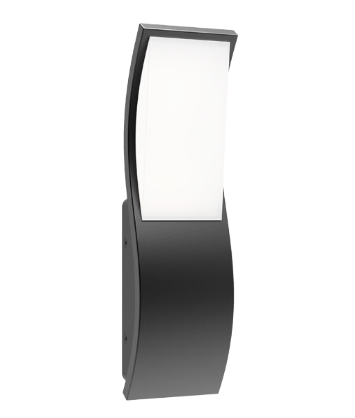 OLA01: Exterior LED Surface Mounted Wavy Rectangular Wall Lights. Dark Grey finish 3000k