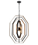 ORBITA2: Interior single pendant light. G9 X 8 Oil Rubbed Bronze Hardware with Antique Gold OD640mm x H920mm 3m cable & chain