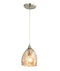 ORDITO1: Interior single pendant light. ES 60W Chrome with Champagne Glass ELLIPSE OD146mm x H232mm 3m cable. CLA Lighting.