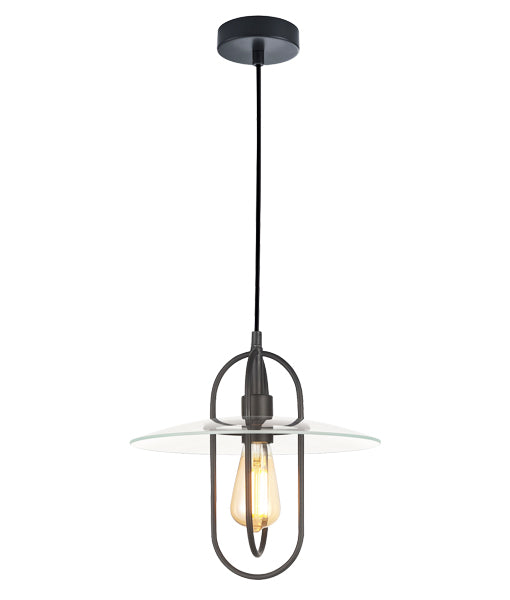 PAPILLON1: Interior PENDANT ES 72W Matt Black Oblong with Clear Glass Coolie. CLA Lighting