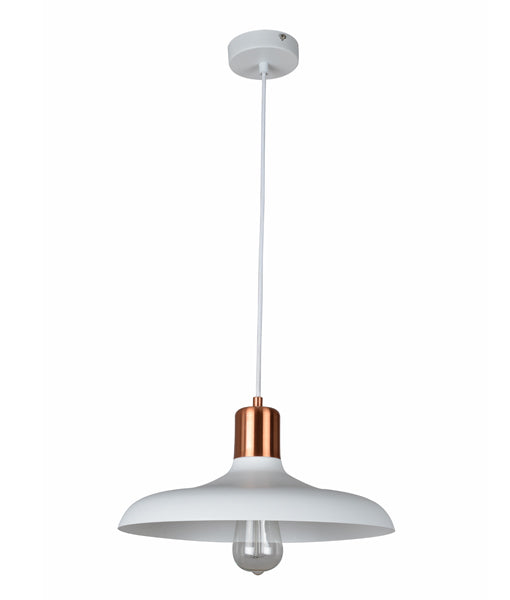 PASTEL08: Interior single pendant light. ES 40W HAL Matte White DOME with Copper Lamp holder Cover OD400mm x H216mm 3m cable. CLA