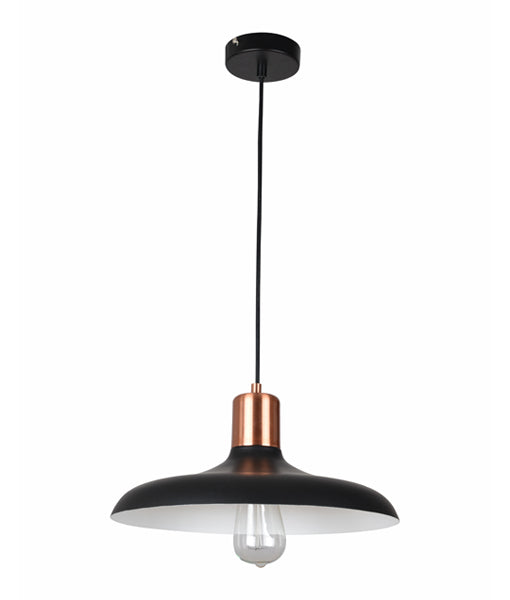 PASTEL09: Interior single pendant light. ES 40W HAL Matte Black DOME with Copper Lamp holder Cover OD400mm x H216mm 3m cable. CLA