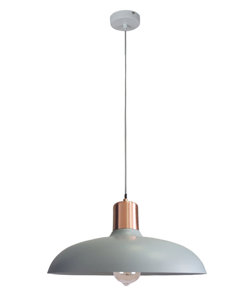 PASTEL11: Interior single pendant light. ES 40W HAL Matte GREY DOME with Copper Lamp holder Cover OD400mm x H216mm 3m cable. CLA