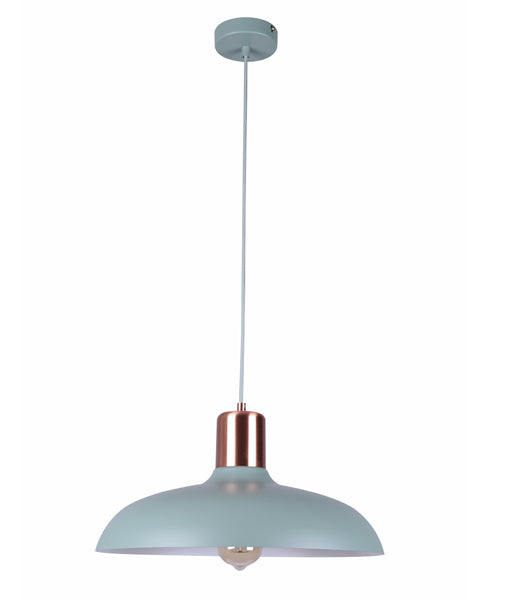 PASTEL12: Interior single pendant light. ES 40W HAL Matte GREEN DOME with Copper Lamp holder Cover OD400mm x H216mm 3m cable. CLA