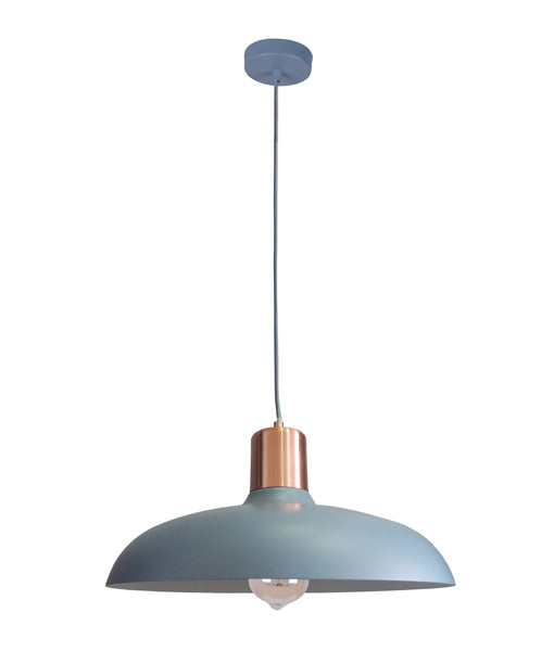 PASTEL13: Interior single pendant light. ES 40W HAL Matte BLUE DOME with Copper Lamp holder Cover OD400mm x H216mm 3m cable. CLA