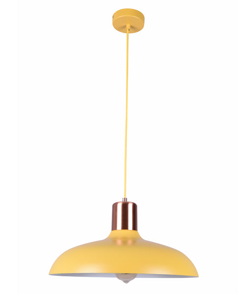 PASTEL14: Interior single pendant light. ES 40W HAL Matte YELLOW DOME with Copper Lamp holder Cover OD400mm x H216mm 3m cable. CLA