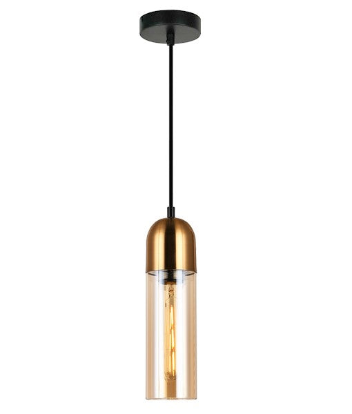 PASTILLE2- interior round top cylinder pendant lights ES 72W Amber Glass Round Top Cylinder with Antique Brass Highlight. CLA