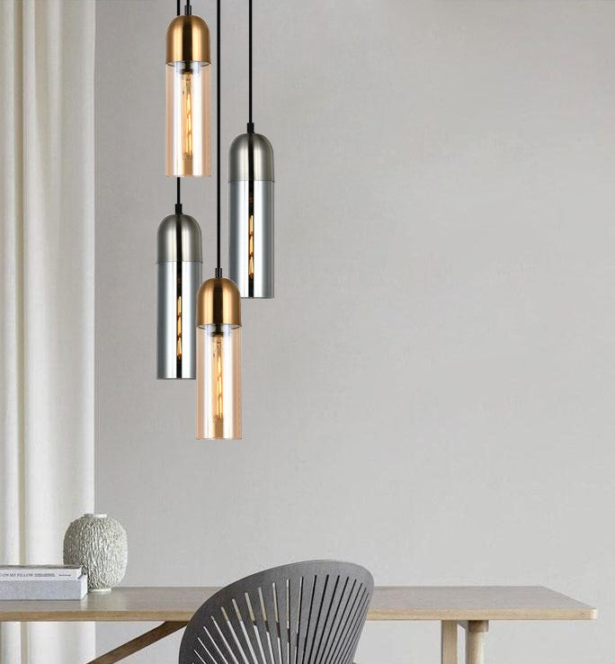 Pastille1- round top cylinder Smoke Glass pendant lights with Satin Chrome Highlight. Material: glass & iron. E27 72W. CLA