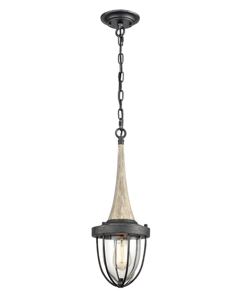 PENDOLO1: Interior single pendant light. ES X 1 Weathered Charcoal Hardware with washed wood and clear glass. CLA Lighting