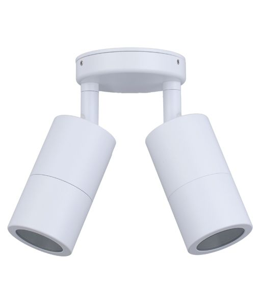 PM2AWH: MR16 Exterior Wall Pillar Lights (White) D/ADJ RND BASE IP65
