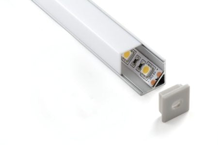 PR007: LED Lighting strip. Aluminium profile square corner 16mm. 2M in length. Customise. Diffuser PMMA Opal Cover. Azoogi