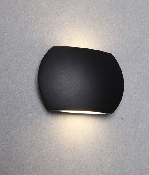 REMO1: Exterior LED surface mounted up/down wall lights. EXTERNAL Curved Up/Down LED. Black 6.8W  IP54 3000K (500 Lumens)