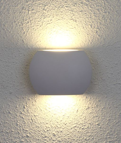 REMO2: Exterior LED surface mounted up/down wall lights. Curved Up/Down LED. White 6.8W  IP54 3000K (500 Lumens)