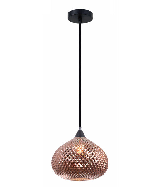 RICTUS1: Interior single pendant light. ES 72W Copper Wine Glass with quadrilateral segment OD290mm x H250mm x 3m cable. CLA Lighting