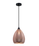 RICTUS3: Interior single pendant light. S 72W Copper Glass Ellipse with quadrilateral segments OD225mm x H320mm 3m cable. CLA Lighting