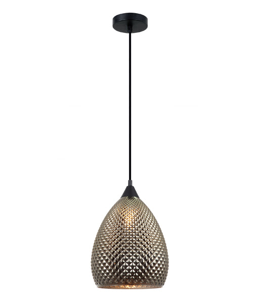 RICTUS4: Interior single pendant light. S 72W Gold Glass Ellipse with quadrilateral segments OD225mm x H320mm 3m cable. CLA Lighting