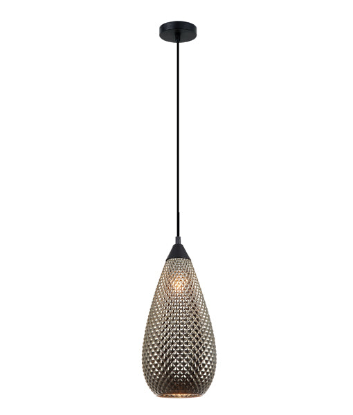 RICTUS6: Interior single pendant light. ES 72W Gold Glass Tear Drop with quadrilateral segments OD180mm x H380mm 3m cable. CLA Lighting