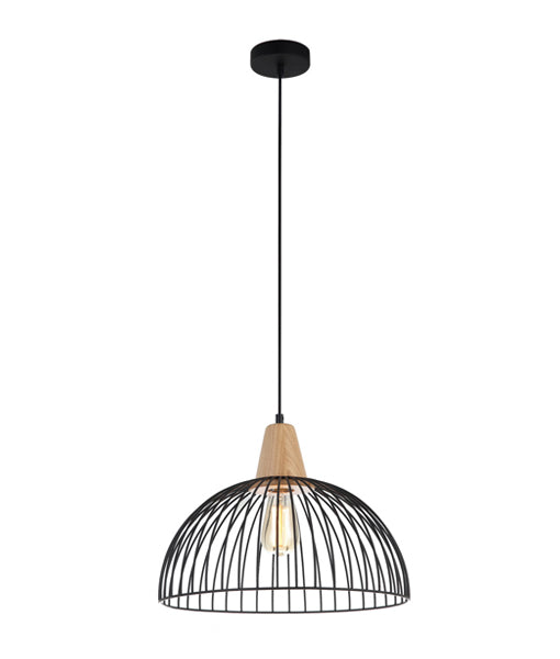 STRAND1: Interior single pendant light. ES 72W BLACK DOME CAGE OD400mm x H295mm 3m cable. CLA Lighting