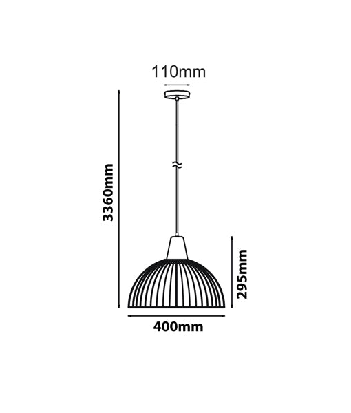 STRAND1, STRAND2: Interior single pendant light. ES 72W BLACK/WHITE DOME CAGE OD400mm x H295mm 3m cable. CLA Lighting