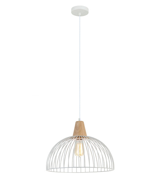 STRAND2: Interior single pendant light. ES 72W WHITE DOME CAGE OD400mm x H295mm 3m cable. CLA Lighting