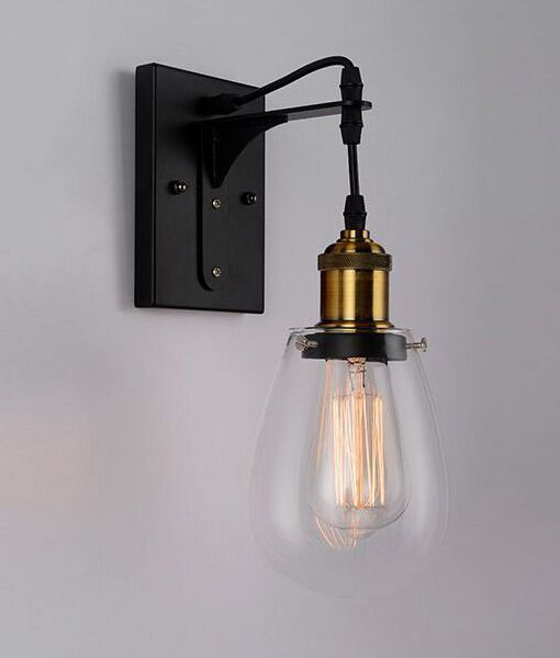STRUNG1: Interior Wall Light. ES 40W Black / Antique Brass and Clear Pear-shaped Glass. Antique wall light. CLA Lighting.
