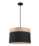 TAMBURA: Oblong Cloth Shade with Blonde Wood Trim Pendant Lights