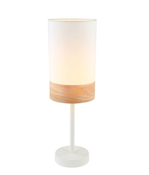 TAMBURA07TL: Interior table lamps. ES (Max 72W Hal) Small OBLONG (White Cloth Shade with Blonde Wood Trim) OD150mm x H470mm. CLA