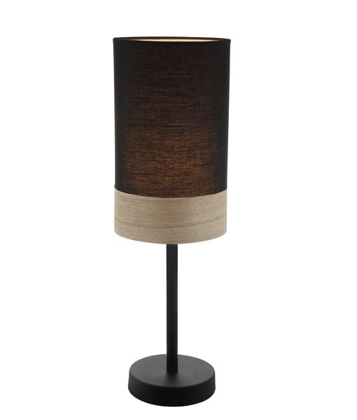 TAMBURA08TL: Interior table lamps. ES (Max 72W Hal) Small OBLONG (Black Cloth Shade with Blonde Wood Trim) OD150mm x H470mm. CLA