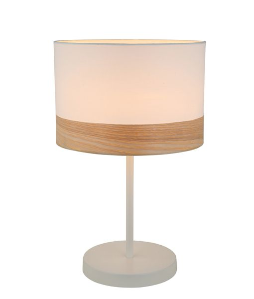 TAMBURA09TL: Interior table lamps. ES (Max 72W Hal) Medium RND (White Cloth Shade with Blonde Wood Trim) OD300mm x H470mm. CLA